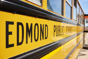 Bus showing Edmond Public Schools Logo
