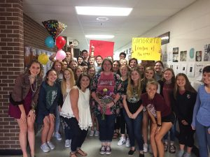 Edmond Memorial High School Teacher of the Year Christy Nieves poses with dozens of students