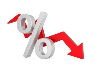 Red arrow pointing downward behind a percentage sign